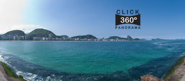 Click nesta foto 360 graus para visualizar a paisagem que se vislumbra do Forte de Copacabana no Posto 6 em foto 360 graus do AYRTON especialista e pioneiro no Brasil da tecnica de fotografia panoramica imersiva