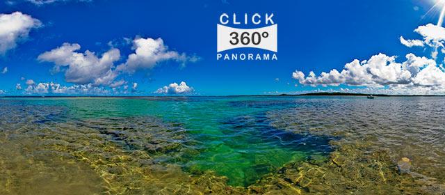 Click nesta foto 360 graus para visualizar a paisagem essa deslumbrante na Costa do Dende, aonde pode-se ficar de pe no meio do Oceano e avistando-se ao fundo a Praia de Coeiros em foto 360 graus do AYRTON especialista e pioneiro no Brasil da tecnica de fotografia panoramica imersiva