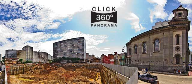 Click nesta foto 360 graus para visualizar a cratera aberta na  obra da rua dos Invalidos perto da esquina com a Igreja de Santo Antonio em foto 360 graus do AYRTON especialista e pioneiro no Brasil da tecnica de fotografia panoramica imersiva