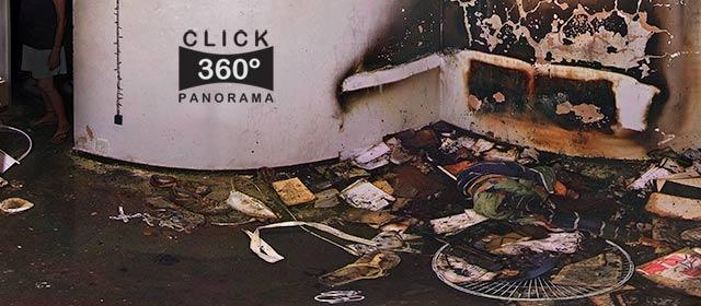 Click nesta foto 360 graus para visualizar o interior de um apartamento após um incêndio destruir tudo que estava dentro em foto 360 graus do AYRTON especialista e pioneiro no Brasil da tecnica de fotografia panoramica imersiva