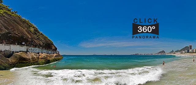 Click nesta foto 360 graus para visualizar a Praia do Leme em Copacabana no Rio de Janeiro em foto 360 graus do AYRTON especialista e pioneiro no Brasil da tecnica de fotografia panoramica imersiva