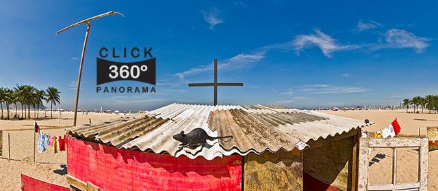 Click aqui em cima desta imagem panoramica para visualizar o cenário de favela montado pela ONG Rio de Paz, nas areias de Copacabana, no Rio de Janeiro, em foto 360 graus do AYRTON especialista e o pioneiro no Brasil da tecnica de fotografia panoramica imersiva