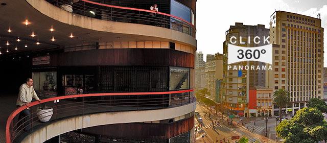 Click aqui em cima desta foto panoramica acima para apreciar o visual que é a vista da Galeria do Rock sobre São Paulo, em foto 360 graus do AYRTON especialista e pioneiro no Brasil da tecnica de fotografia panoramica imersiva