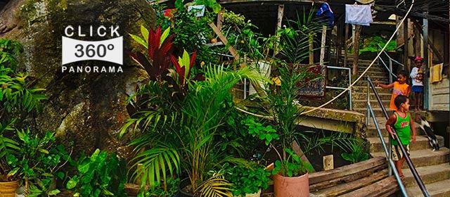 Click aqui em cima desta imagem panoramica para visualizar uma ruela da Favela Santa Marta, em foto 360 graus do AYRTON especialista e pioneiro no Brasil da tecnica de fotografia panoramica imersiva