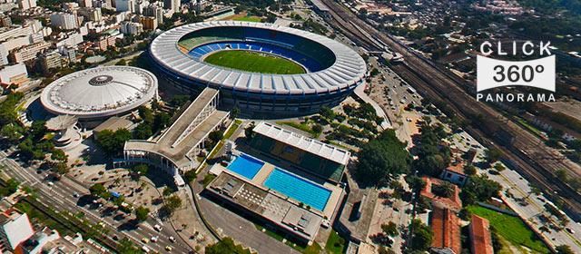 Click na foto para ver em 360 graus com uma visão aérea o Templo do futebol brasileiro, o estádio do Maracanã documentado pelo fotografo AYRTON360, um especialista em fotos 360 graus, e pioneiro no Brasil da tecnica de fotografia Panoramica Imersiva full-screen, Gigafotos, Tour Virtuais, Panoramas 360 e Little Planets