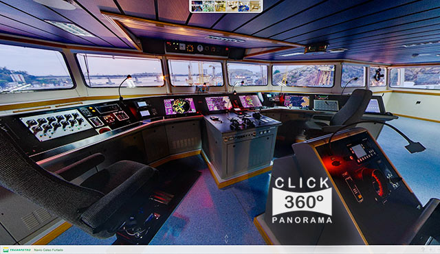 Click na foto para fazer um Tour Virtual fotos 360 graus ao interior dos ambientes do Navio Celso Furtado documentado pelo fotografo AYRTON360, um especialista em fotos 360 graus, e pioneiro no Brasil da tecnica de fotografia Panoramica Imersiva full-screen, Gigafotos, Tour Virtuais, Panoramas 360 e Little Planets