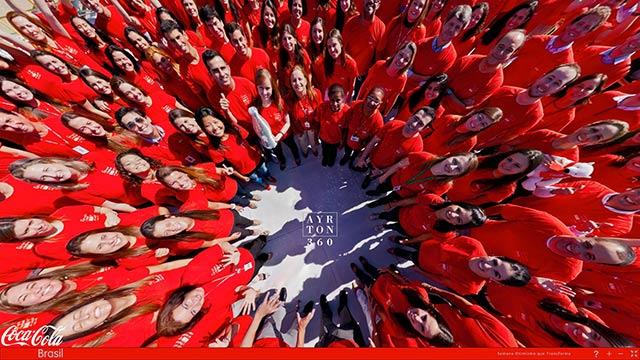 Click na imagem e veja a comemoração da Semana do Otimismo Coca Cola, nesta foto 360 graus do AYRTON360, especialista e pioneiro no Brasil da tecnica de Fotografia Panoramica Imersiva, Videos 360 graus, Gigafotos e de Little Planets