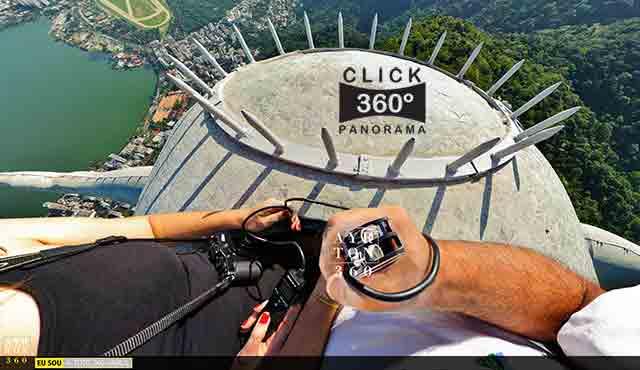 Click na foto veja o casal de fotógrafos AYRTON360 e Andréa Simões no alto da cabeça do Cristo Redentor, nesta fotos 360 graus do especialista e pioneiro no Brasil da tecnica de Videos e Fotos Imersivos, Gigafotos e Little Planets