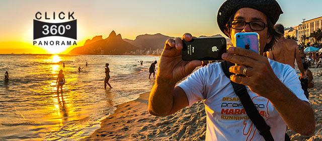 Click na imagem e aprecie este singular momento do por do sol em Ipanema, nesta foto 360 grau do AYRTON360, um especialista e pioneiro no Brasil da tecnica de Videos e Fotos Imersivos, Gigafotos e Little Planets