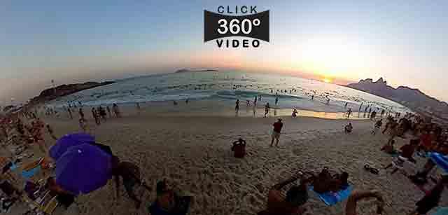 Click aqui nesta imagem e curta o pôr do sol na praia do Arpoador, em Ipanema no verão de 2015, 13 minutos rapidamente em 1 minuto e 30 segundos, neste video 360 graus do AYRTON360, especialista e pioneiro no Brasil da tecnica de Videos e Fotos Imersivos, Gigafotos e Little Planets